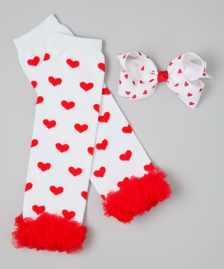 White & Red Heart Ruffle Leg Warmers & Clip