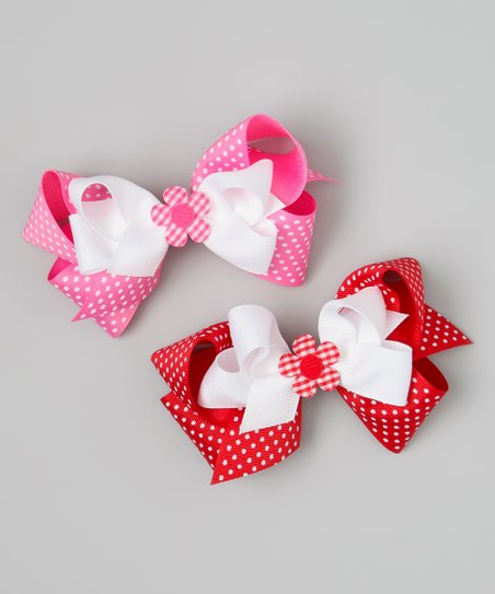 Hot Pink &amp; Red Polka Dot Flower Bow Clip Set