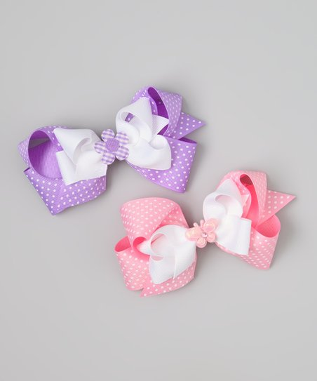 Pink & Purple Butterfly & Flower Bow Clip Set