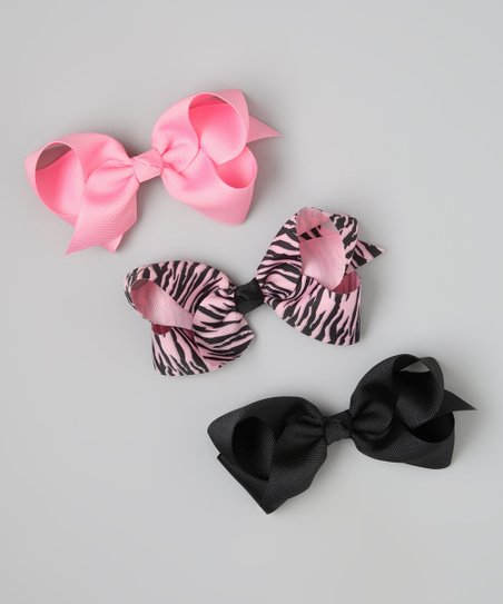 Pink & Black Zebra Bow Clip Set