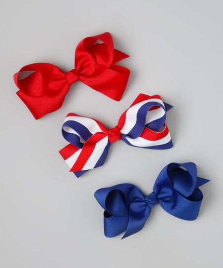 Red & Blue Stripe Bow Clip Set