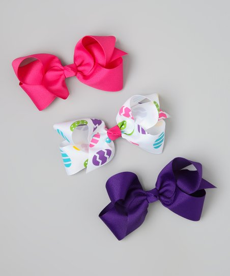 Hot Pink & Purple Easter Egg Bow Clip Set