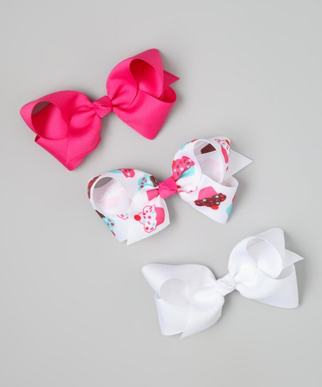 Pink &amp; White Cupcake Bow Clip Set