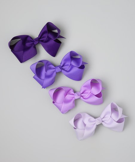 Purple Bow Clip Set