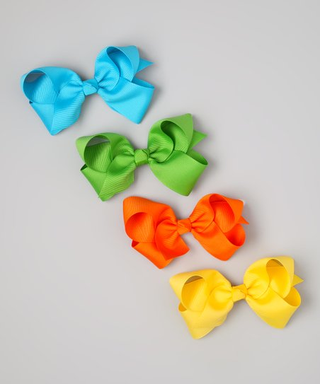 Yellow & Orange Spring Bow Clip Set