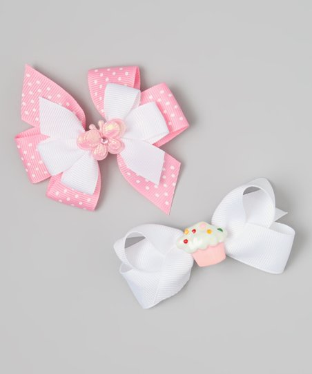 Pink & White Cupcake & Butterfly Bow Clip Set