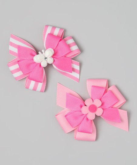Pink Butterfly & Flower Bow Clip Set