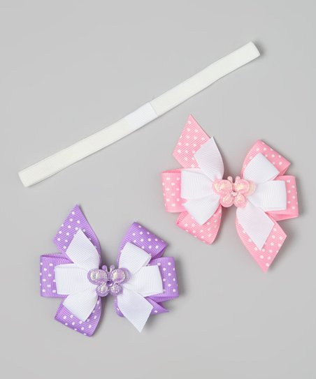 Pink & Purple Butterfly Clip & Headband Set