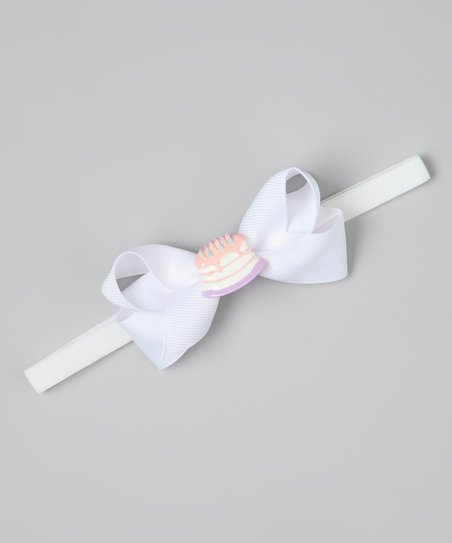 White Birthday Cake Bow Headband