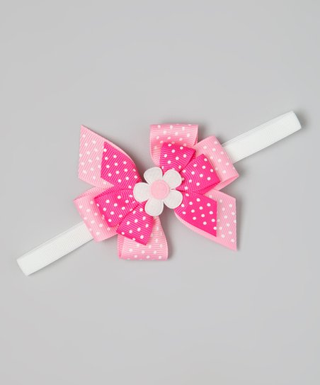 Pink & White Polka Dot Flower Bow Headband