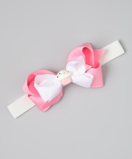 White & Pink Cupcake Bow Wide Headband