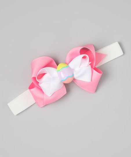 White &amp; Pink Easter Egg Bow Wide Headband