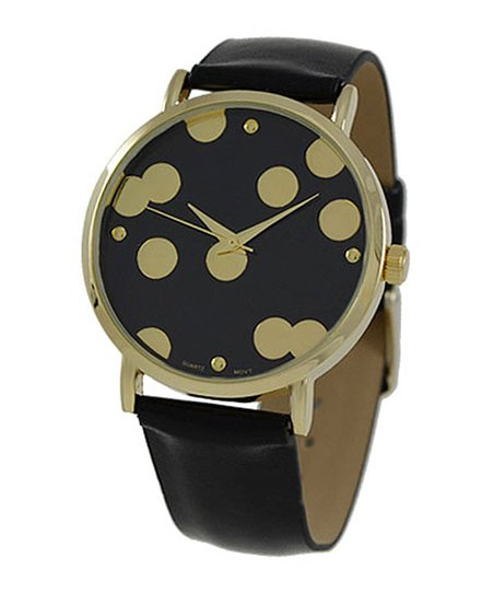 Black Metallic Polka Dot Watch