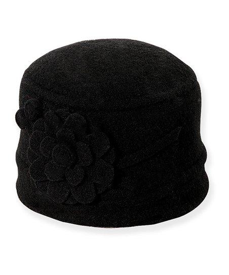 Black Flower Wool Cloche