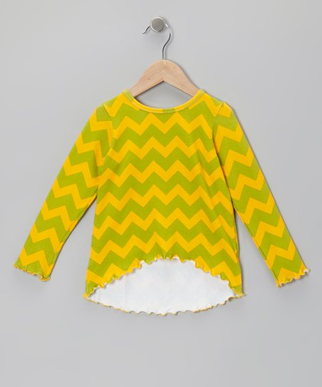 Yellow & Green Zigzag Hi-Low Tunic - Infant, Toddler & Girls