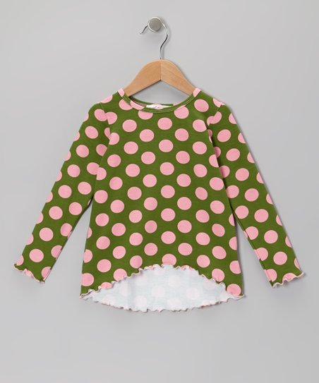 Pink & Green Polka Dot Hi-Low Tunic - Infant, Toddler & Girls