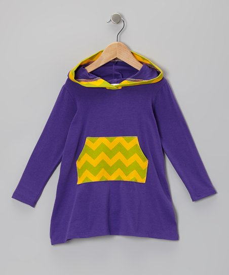 Eggplant Zigzag Jasmyn Hooded Dress - Toddler & Girls