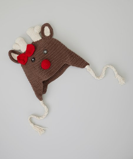 Brown & Red Reindeer Earflap Beanie
