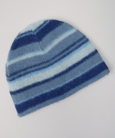 Navy Stripe Wool Beanie
