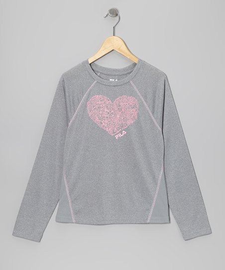 Sleet & Pink Heart Tee - Girls
