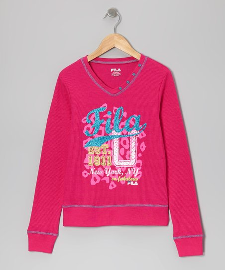 Pink 'Fila' V-Neck Thermal - Girls
