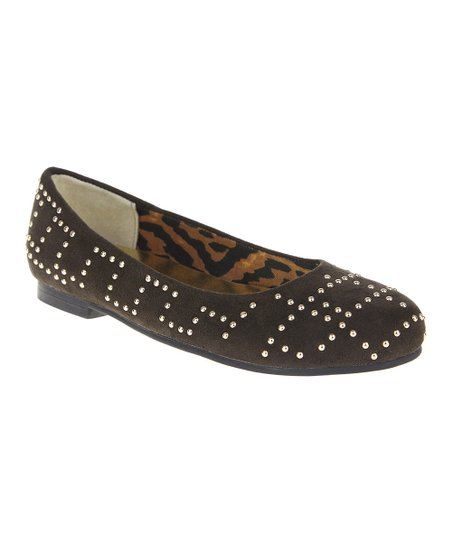 Brown Studded Ballet Flat