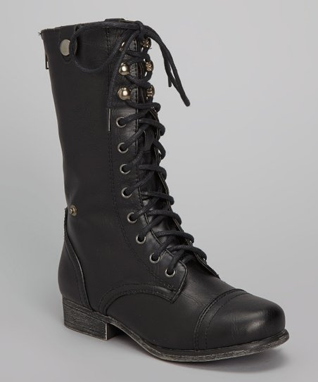 Black Shorbie Lace-Up Boot