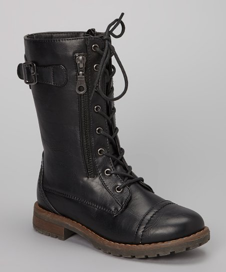 Black Story Lace-Up Boot