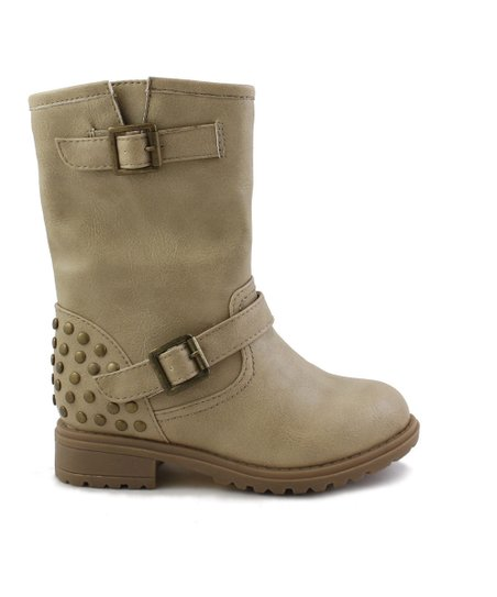 Taupe Rabby Studded Combat Boot