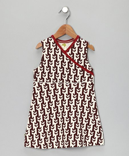 Brown Vine Organic Surplice Dress - Infant, Toddler & Girls