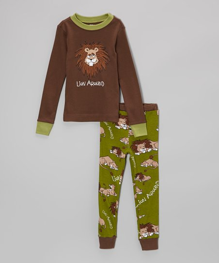 Brown & Green 'Lion Around' Pajama Set - Toddler & Kids