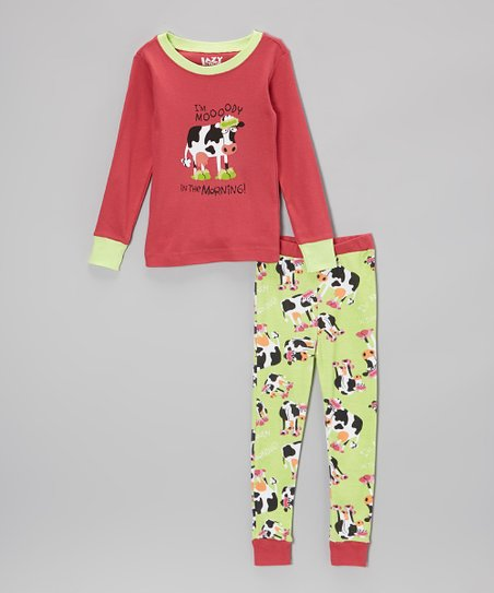 Pink 'Moooody' Pajama Set - Toddler & Kids