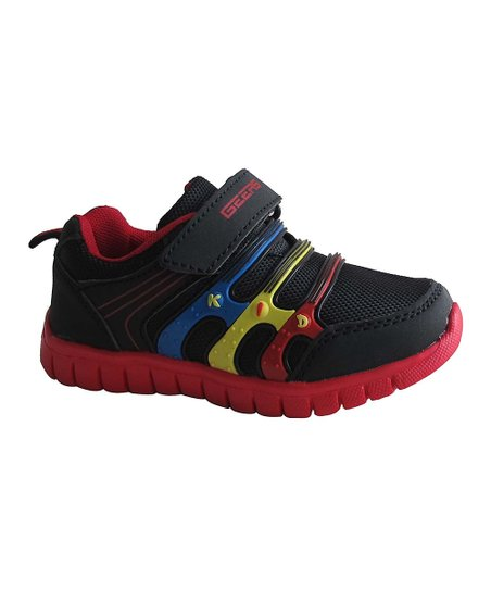 Black & Red Triple-Band Sneaker