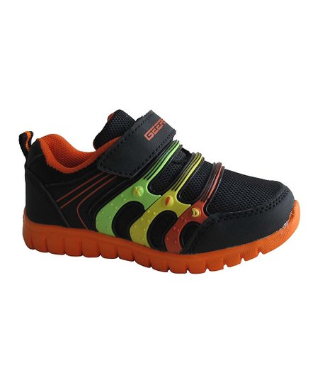 Black & Orange Triple-Band Sneaker