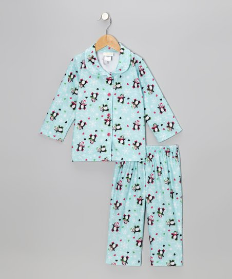 Blue Skating Penguin Pajama Set - Toddler & Girls