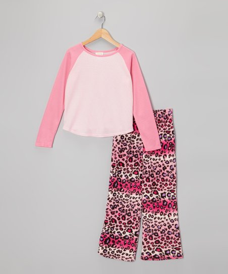 Pink Jungle Cat Pajama Set - Toddler & Girls
