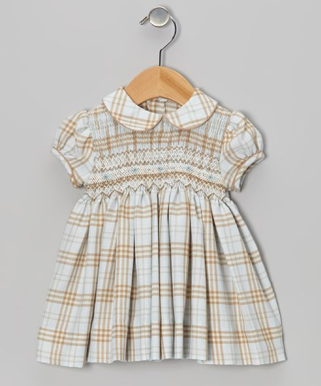 Blue & Khaki Plaid Smocked Dress - Infant