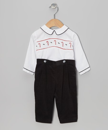 White Candy Cane Smocked Top & Black Pants - Infant