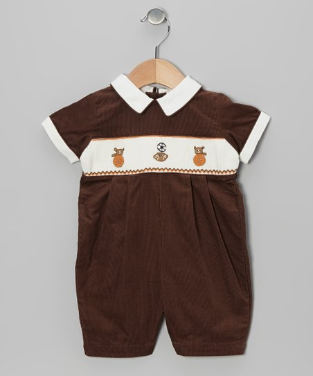 Brown Sports Smocked Romper - Infant