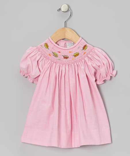 Pink Leaves Bishop Dress - Infant