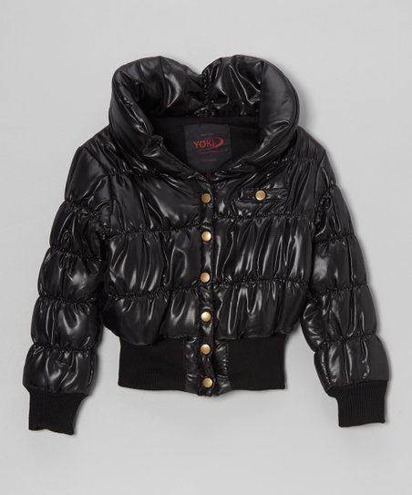 Black Snap Puffer Coat - Girls