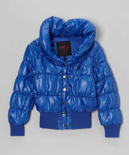 Royal Blue Snap Puffer Coat - Girls