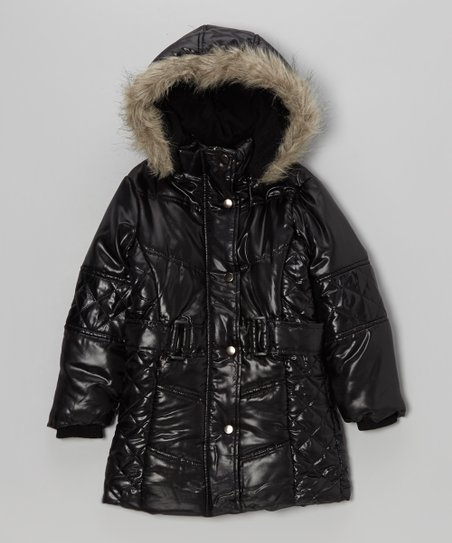 Black Hooded Puffer Coat - Toddler & Girls