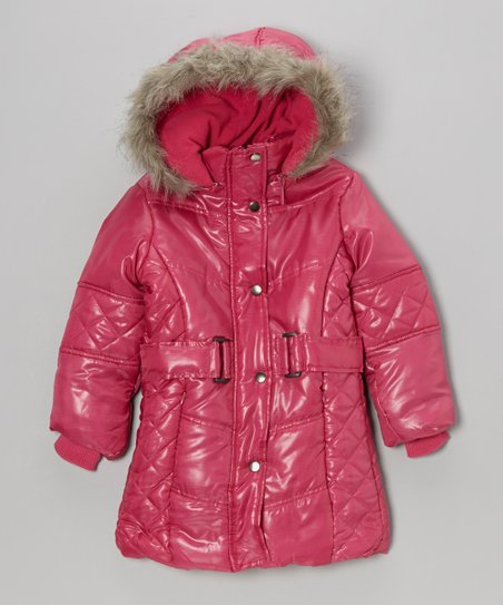 Fuchsia Hooded Puffer Coat - Toddler & Girls