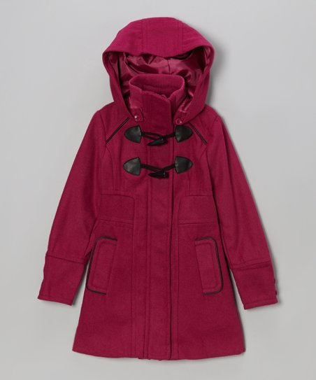 Fuchsia Toggle Hooded Coat - Girls