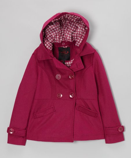 Fuchsia Double-Breasted Hooded Peacoat - Girls