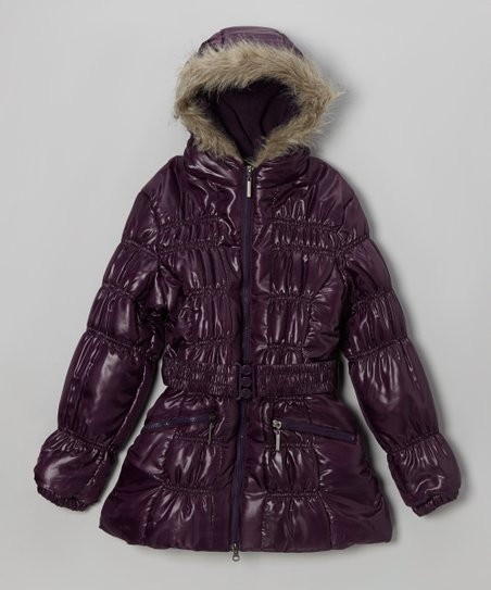 Purple Belted Hooded Puffer Coat - Toddler & Girls