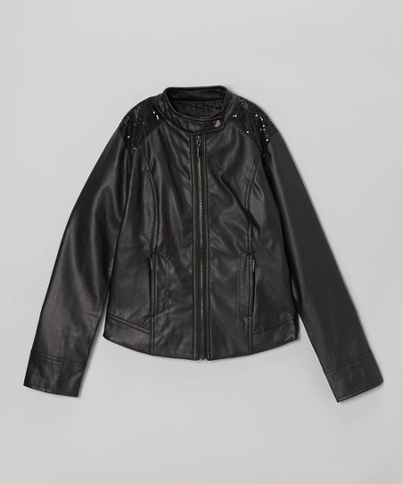 Black Shimmer Faux Leather Jacket - Girls