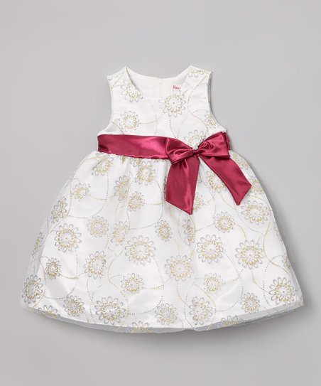 White & Red Floral Bow Dress - Infant, Toddler & Girls