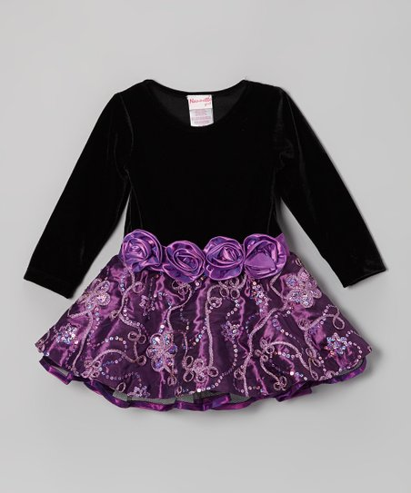 Black & Purple Sparkle Blossom Dress - Toddler & Girls